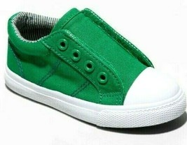 Cat & Jack Green Canvas Dwayne Slip-On Sneakers Shoes NWT image 1