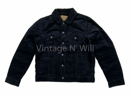 GAP Jeans Mens M Black Corduroy Denim Sherpa Quilted Sleeve Cozy Trucker... - $85.49