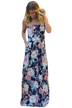 Peach Navy Floral Strapless Maxi Dress with Pockets  - $26.90