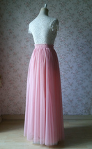 A Line Tulle Wedding Skirt Maxi Long Tulle Skirt Pink Wedding Separate(US0-US30) image 5