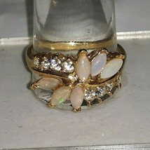 Vintage UNCAS Goldtone Cocktail Ring w Opals and Rhinestones Size 10.75 ... - $23.70