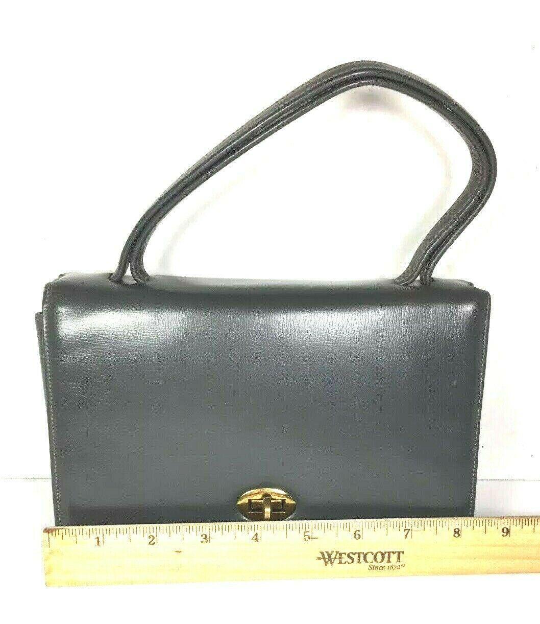Block True Vintage Small Petite Gray Faux Leather Handbag