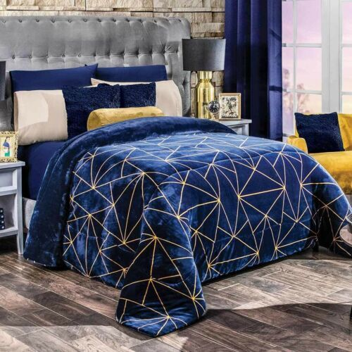 GLASS GEOMETRIC FLANNEL EXTRA SOFT BLANKET VERY SOFTY THICK AND WARM QUEEN SIZE - $74.25