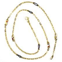 18K YELLOW GOLD CHAIN NECKLACE OVAL LINK 2 MM, 20 INCHES, NAUTICAL ENAMEL FLAGS  image 2