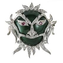3.00 carat Ruby and Diamond 18k Gold Green Enamel Carnival Ornate Mask B... - £5,259.52 GBP