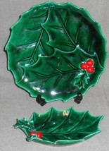 2 Pc Lefton Green Holly Pattern Holiday - Christmas Plate And Leaf Dish - $29.69