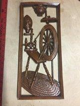 VTG 60/70s BURWOOD Dark Faux Wood Spinning Wheel Openwork Wall Plaque 16... - $29.68