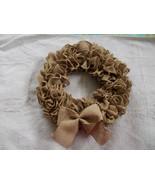 Ruffled Burlap Wreath With Burlap Bow Handmade ... - $34.65