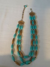 Vintage 3 Strand Gold Tone and Turquoise Colored Beads Necklace - $18.69