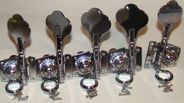 Vintage Style Tuners, Chrome, For Left Handed 5 String Bass Guitar, 4 Lh & 1 Rh - $39.95