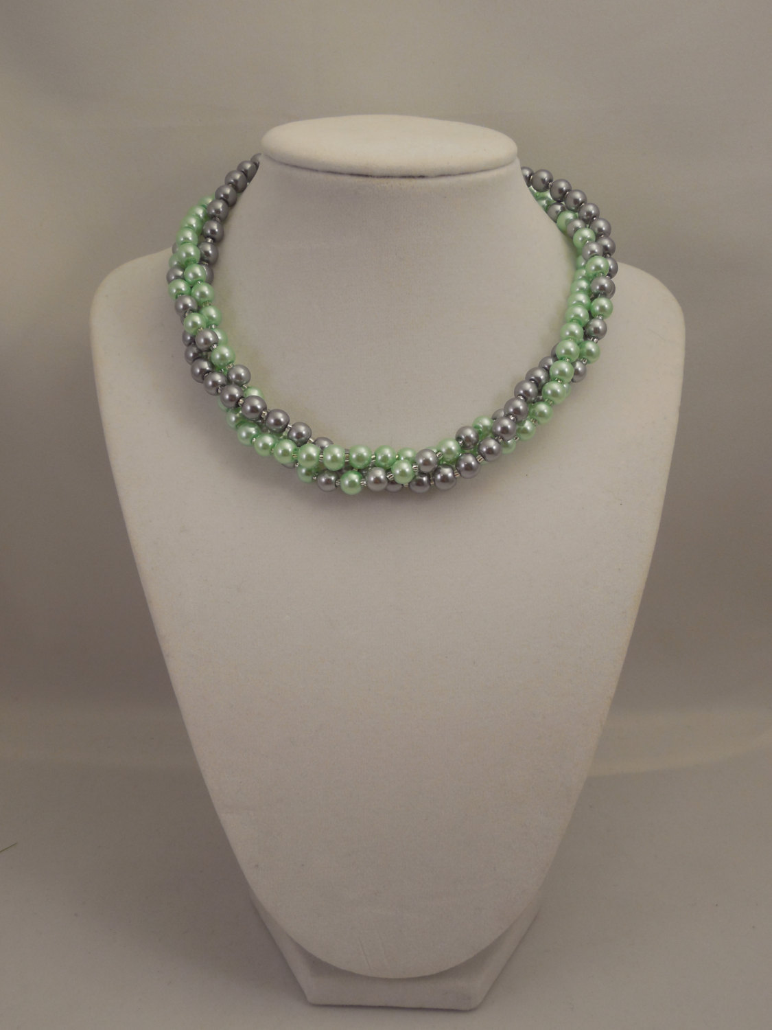 Elegant, Multi Strand Choker Style Necklace with Gray and Mint Green Glass Pearl image 2