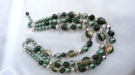 Vintage Signed Japan Green Triple Strand Beaded Necklace Clip Back Earrings - $29.99