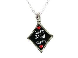 Mimi Grandma Grandmother Silver Chain Necklace Diamond Charm Jewelry - $10.81