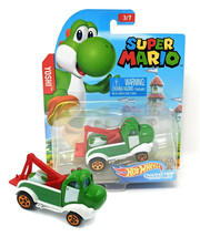 Hot Wheels Super Mario Yoshi Character Cars 3/7 Mint on Card - $11.88