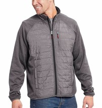 Orvis Men's Charcoal Gray Mixed Media Zipper Quilted Jacket Size Large NWT
