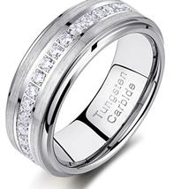 Men's Stunning Solid Tungsten Carbide Ring Inlaid Grade A CZ Channel Setting image 2