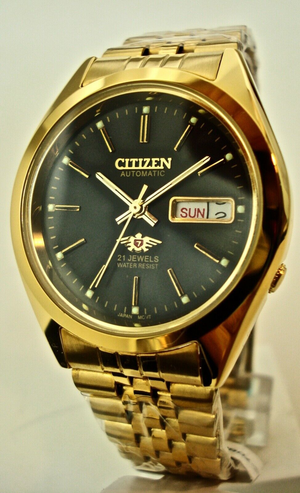 Primary image for NEW CITIZEN Men's Automatic 21 Jewels Gold & Black Dial Watch