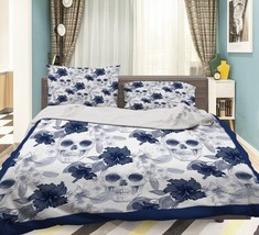 3D Flower Skulls Bed Pillowcases Quilt Duvet Cover Set Single Queen King... - $64.32+