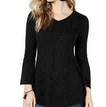 Style & Co. Women's Sweater Dress Size XL Deep Black Sparkly Metallic Fl... - $20.79