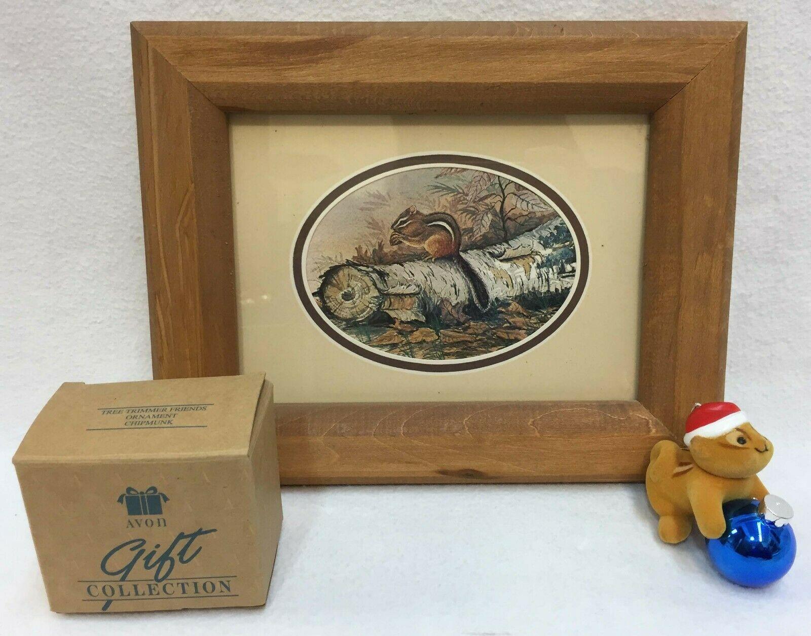 Chipmunk Print Natural Wood Frame 9 x 7 & Avon Tree Trimmer Chipmunk Ornament