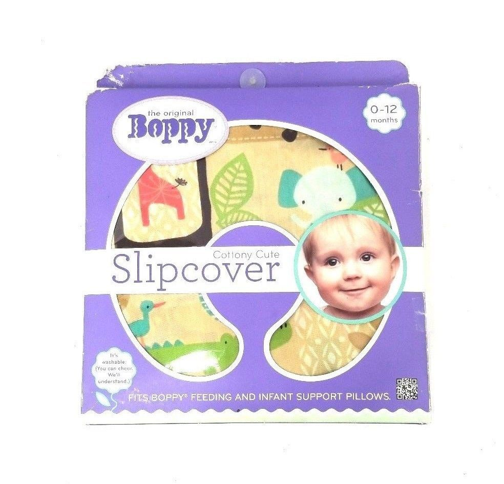 The Original Boppy Support Pillow Cottony Cute Slipcover Baby Jungle Animals