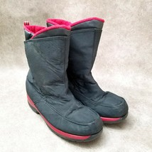 Lands End Unisex 30586 Sz 6 M Black Red Youth Waterproof Winter Snow Boots - $29.99