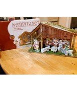 Christmas 11 Piece Nativity Set with Wood Stable  - $59.39
