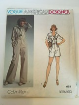 Vogue American Designer Calvin Klein Sewing Pattern 1453 Vintage Misses Jumpsuit - $30.00