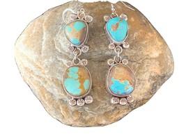 Stunning Handmade Navajo Royston TURQUOISE Sterling Silver Dangle Earrin... - £269.69 GBP