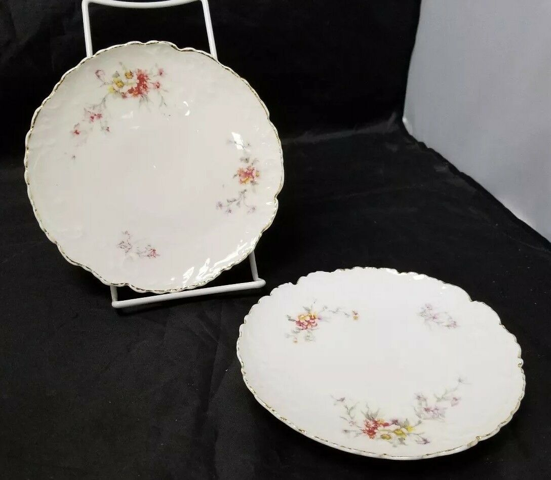 Vintage China Salad Plates: Set of 2, White Bread / Side Plates w Flowers, Gold