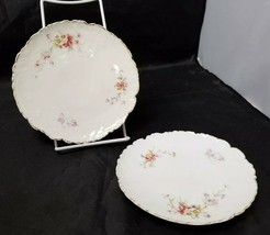 Vintage China Salad Plates: Set of 2, White Bread / Side Plates w Flower... - $12.59