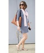 J Crew (Size Small) Striped Side Zip T Shirt Knit Dress Blue Metal Zippe... - $25.65