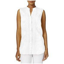 Charter Club Womens Linen Sleeveless Button-Down Top in White, Small - $23.75