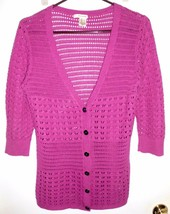 Dkny J EAN S Cardigan Small Button Front Airy Sweater Pink 3/4 Sleeve Women - $14.25