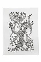 Wall Hanging Gond Painting (Exclusive Woman Under Tree) Size :- 16/12 Inch - $125.00
