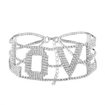 Rhinestone Letter Love Choker Necklace For Women Fashion Collar Jewelry - $44.50