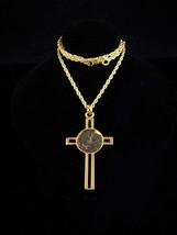 Gold Jerusalem Cross / coin Pendant / Widow's Mite Bronze Coin / Israel ... - $225.00