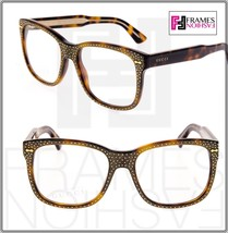 GUCCI RHINESTONE Crystal 3871 Square Brown Gold Frame RX Glasses GG3871S - $534.60