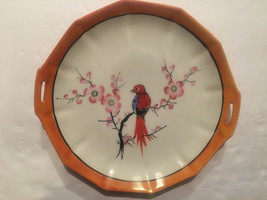 Ceramic Plate Made In Japan With Red Bird On Cherry Blossom Tree Branch - $19.80