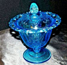 Blue Pedestal Candy Compote Depression Glass 2 piece AA19-CD0025 Vintage image 7