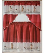 """3pc. Embroidery Curtains Set:2 Tiers &Swag(60""""x36"""")NEW YORK,STATUE OF LI... - $19.79"""