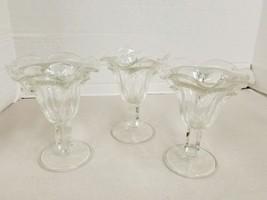 """Set Of 3 Ice Cream Sundae Glasses Soda Fountain Clear 6"""" - $10.18"""