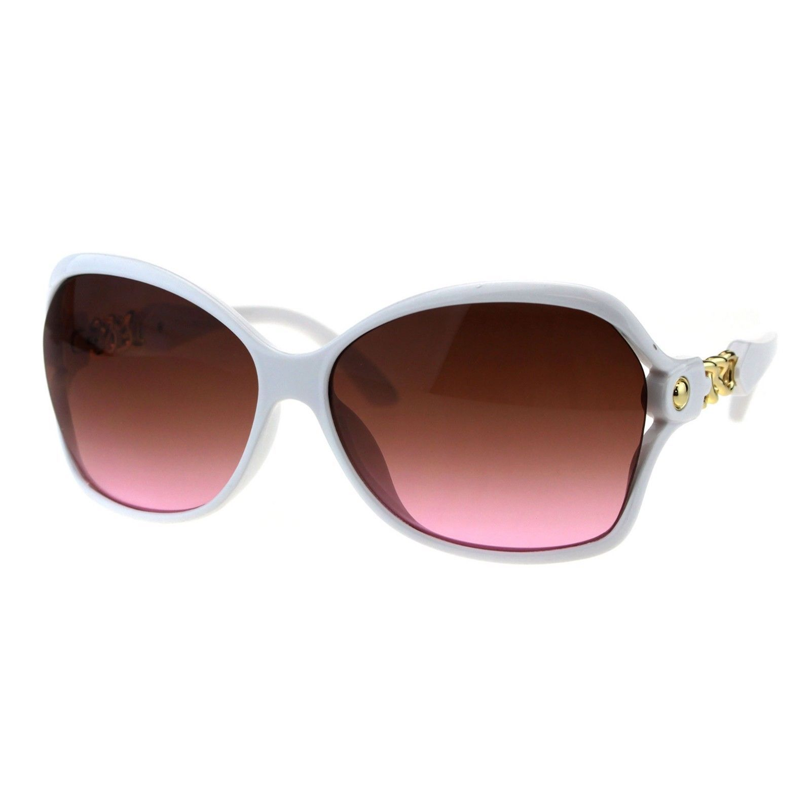 Womens Designer Style Sunglasses Butterfly Frame Gold Chain Temple