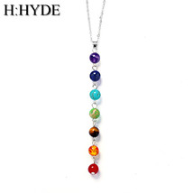 5style Silver Color Seven Stone Chakra Necklaces Pendants Yoga Reiki Hea... - $7.99