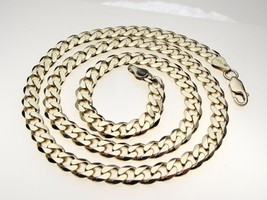 Vintage Gilt Sterling Silver Flat Chamfer Curb Hallmark 20 inch Necklace Chain - $81.36