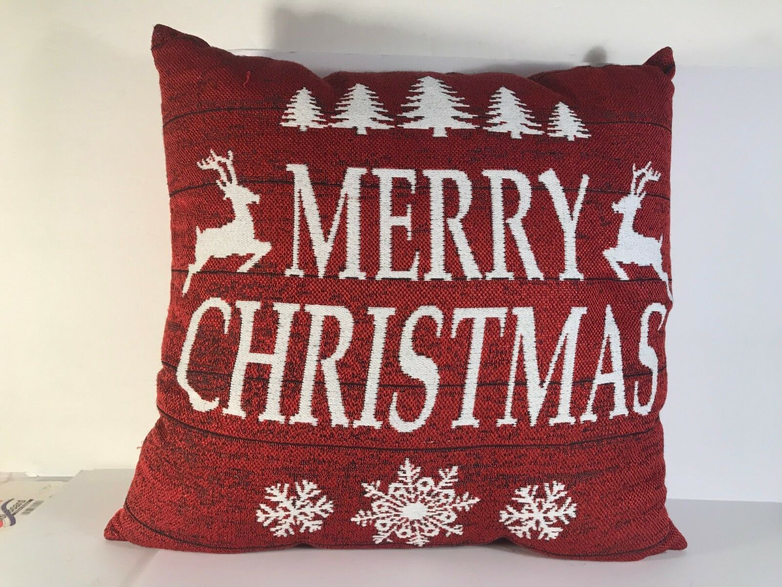"Primary image for Merry Christmas Throw Pillow Red Sparkly Sparkle Reindeer White 15"" square"