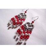 OOAK Heart Chandelier Earrings Red and White - $13.00