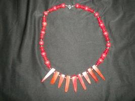 """Vintage Karla Jordan Red Necklace 21"""" - £12.90 GBP"""