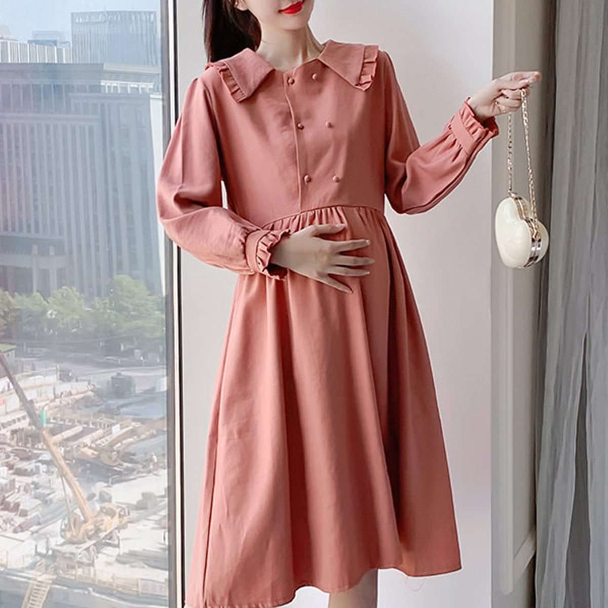 Maternity Dress Long Sleeve Solid Color Loose Dress image 3