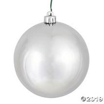 "Vickerman 6"" Silver Shiny Ball Christmas Ornament - 4/Box - $32.75"